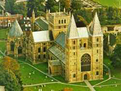 aerial view of Southwell Minster