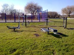 New outdoor gym equipment at the Village Hall